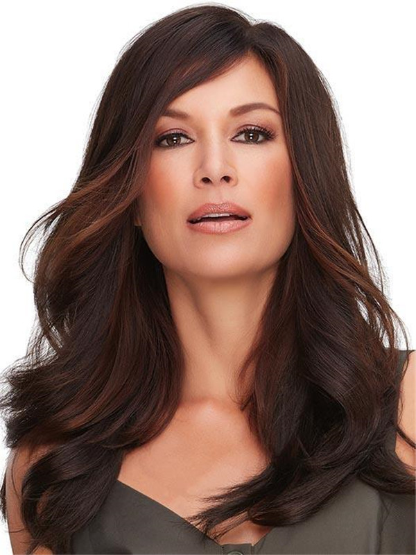 Black And Brown Top Full Half Synthetic Hair Topper