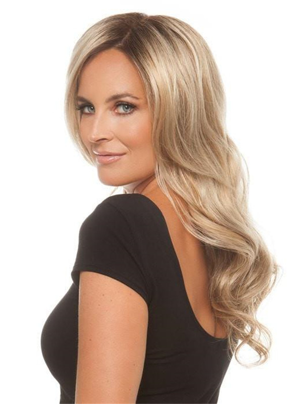 Black And Blond Top Ynthetic Lace Front Hair Topper Half