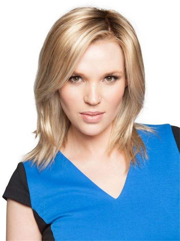 Black And Blond Top Synthetic Hair Topper Half Rooted