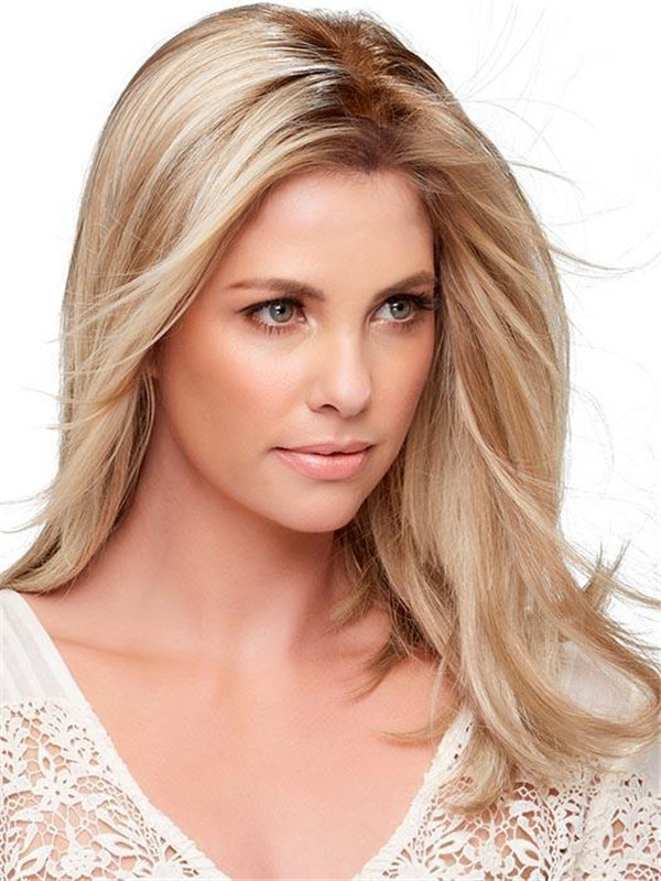 Black Top Style Synthetic Hair Topper Half Rooted