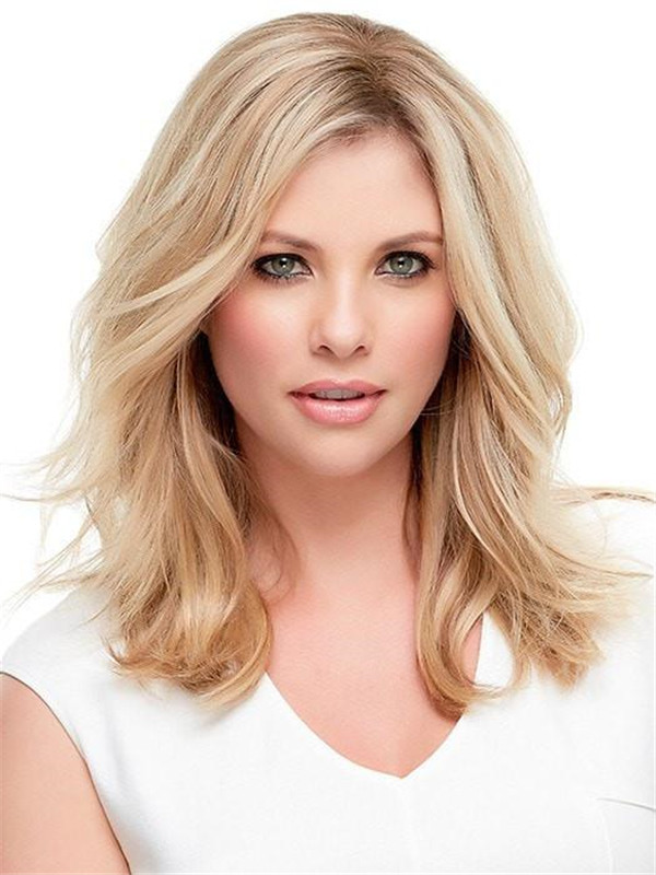 Black And Blond Top Style Human Hair Topper Half