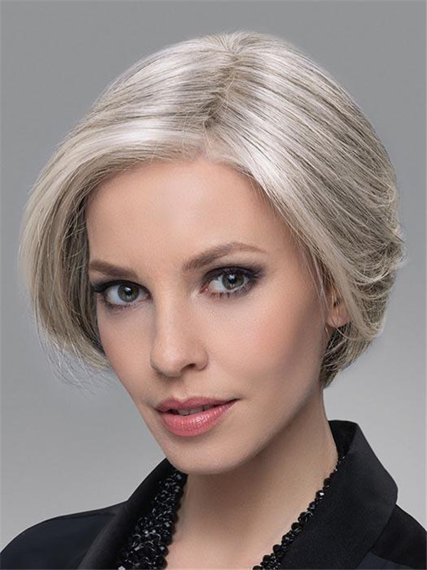 Blond And Brown Top Human Hair Synthetic Blend Half