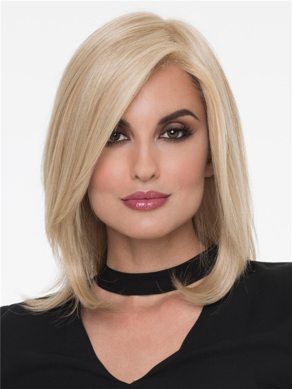 Black And Blonde Human Hair Synthetic Blend Wig