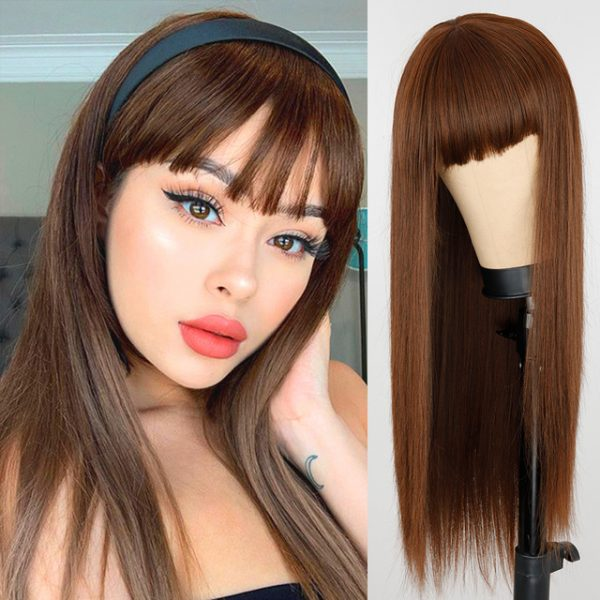 Popular Women Long Straight Basic Cap Red Synthetic Wig