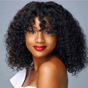 High Quality Women Short Curly Human Hair Basic Cap Synthetic Wig