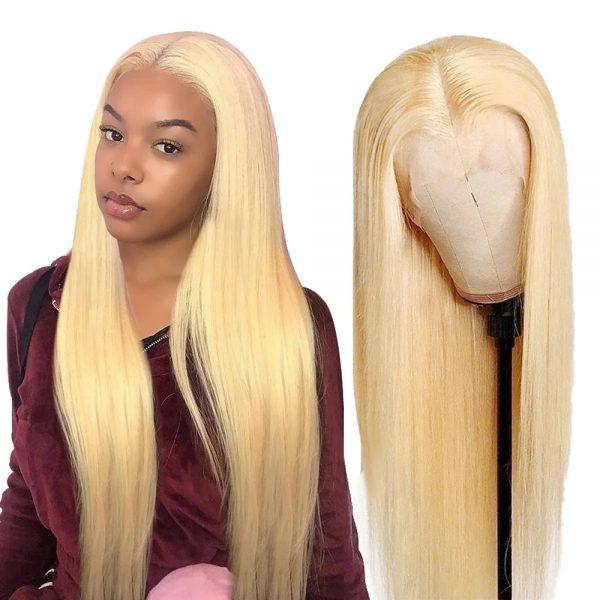 High Quality Blonde Long Straight For Women Basic Cap Lace Front Synthetic Human Hair Wig
