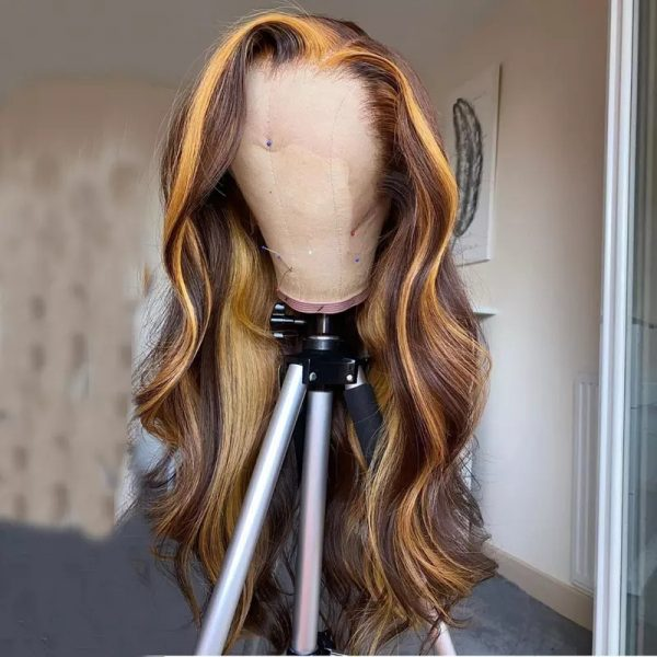 Hot Sale Brown Long Wavy Basic Cap Lace Front Synthetic Human Hair Wig For Women