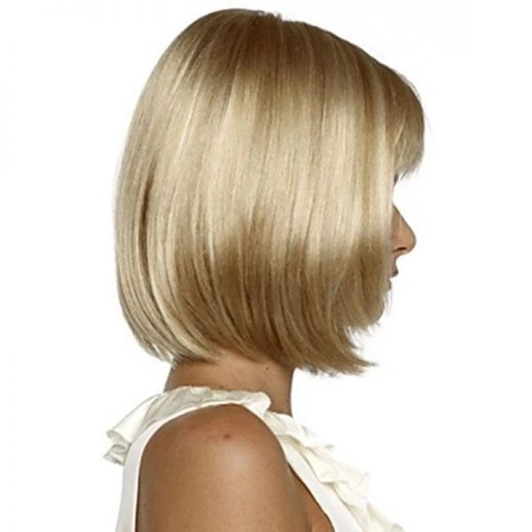 Chic Blonde Short Straight Basic Cap Synthetic For Women Wig