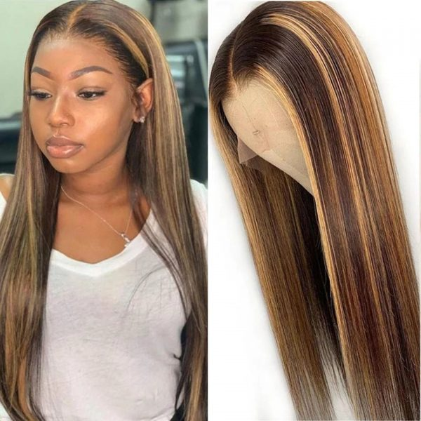 High Quality Blonde Short Straight Basic Cap Synthetic Human Hair Wig For Women