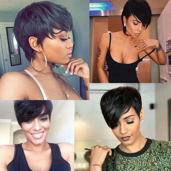 High Quality Black Short Straight Basic Cap Synthetic Human Hair Wig For Women