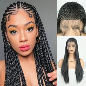 Top Quality Black Long Braided For Women Lace Front Synthetic Wig