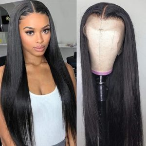 High Quality Black Long Straight Basic Cap And Lace Front Synthetic Human Hair Wig For Women