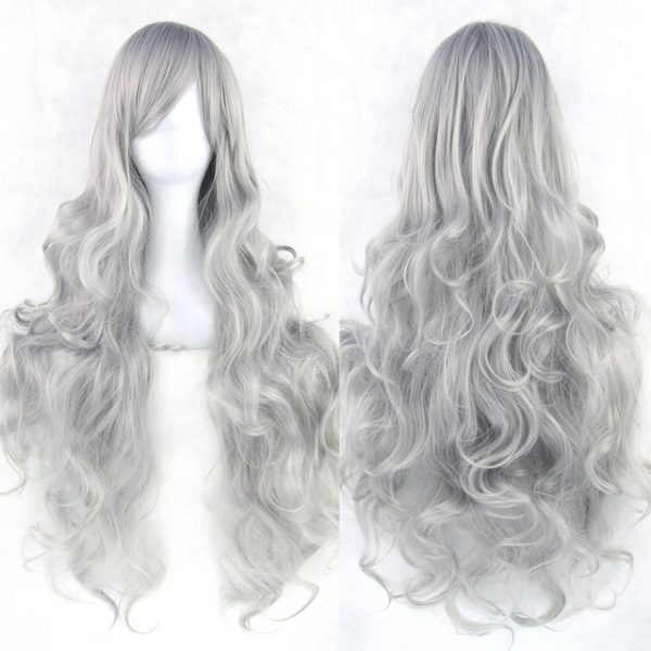 Popular For Women Gray Long Wavy Basic Cap Synthetic Wig