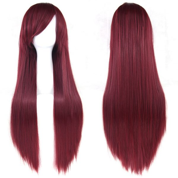 Fashion Red Long Straight Basic Cap Synthetic For Women Wig