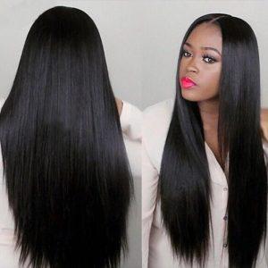 Popular Black Long Straight Basic Cap Synthetic Wig For Women